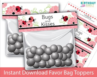 12 Personalized Ladybug Birthday Party Favor Candy Loot Treat Drawstring Bags