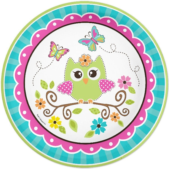 Owl Party Paper Plates Owl Lunch Plates Owl Birthday Baby Etsy