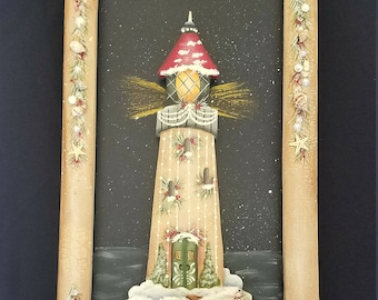 Holiday Harbor (Snowy Light House embellished with Sea Shells and Pearls)