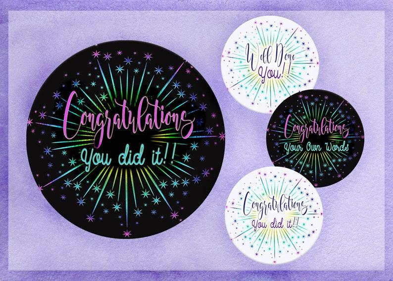 Congratulations Sticker, Well Done Sticker, Achievement Award, You Did It,  Reward Sticker, Custom Sticker, Your Own Words , Party Sticker