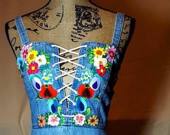 Vintage Hand Painted Denim Corset Dress