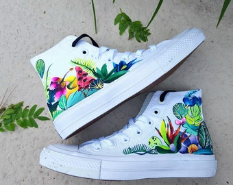 c6aa481572ab19 Hand Painted Tropical Floral Sneakers