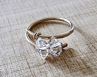 Herkimer diamond 2  stone ring on 14k gold fill wire, swirling, wraparound , thick,textured,sterling, april birthstone