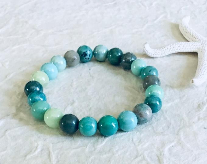 Moss green opal 8mm beaded bracelet, stacking, smooth, high gloss