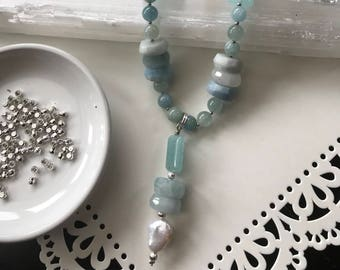 Translucent Aquamarine necklace, round, heishi and rectangular beads,freshwater pearl