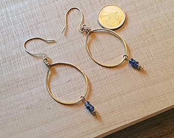 14k gold fill large circle earrings with kyanite rondelles on 14k gold fill ear wires, textured