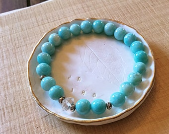 AB grade 8 mm amazonite and Herkimer Diamond beaded bracelet, Karen Hill Tribe daisy spacers