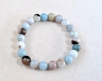 Flower Amazonite 8mm beaded bracelet