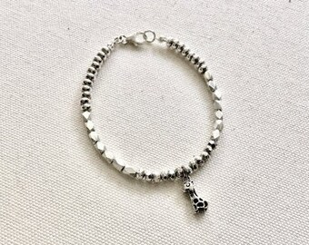 Karen Hill Tribe Silver faceted barrel, rondelle and faceted beaded bracelet with sterling giraffe charm