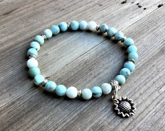 Genuine 5mm larimar beaded bracelet with 925 sterling dandelion charm and silver spacers