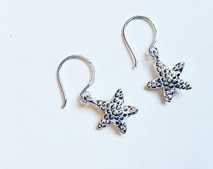 Karen Hill Tribe silver starfish earrings on sterling ear wires, drop earrings,ocean