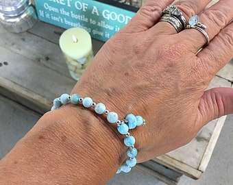Genuine 6mm ocean blue larimar and tiny sterling beaded bracelet with a larimar charm