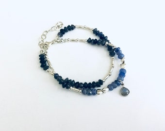 Double wrap Tanzanite and iolite rondelle beaded bracelet with Karen Hill silver tube beads, sterling spacers, labradorite charm