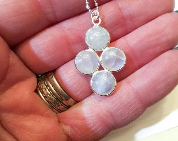 Rainbow moonstone 4 pieces pendant necklace on diamond cut sterling ball chain, minimalist, layering