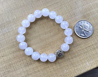 10mm selenite beaded bracelet with a sterling silver rose floral bead, chunky