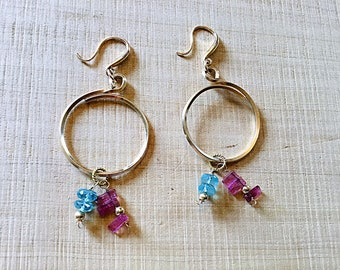 Natural Watermelon tourmaline slices, amazonite rondelles, 14k Gold fill square wire, overlapping circle hoop earrings