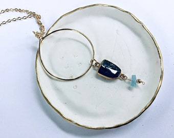 Kyanite connector and high grade aquamarine rondelle on 14k gold thin circle pendant necklace