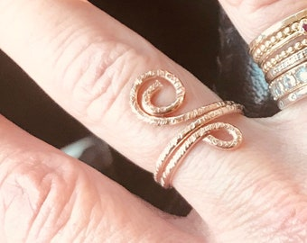 14k Rose gold fill hammered swirly circle ring