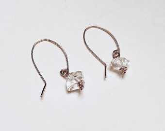 10mm Herkimer diamond earrings on 14k gold fill ear wires, minimalist, april birthstone