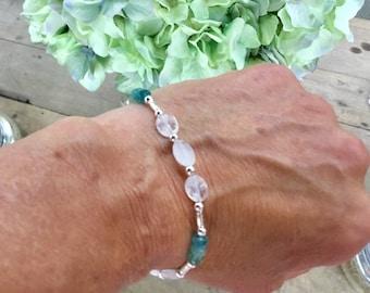Natural green grandidierite rondelle bracelet, rainbow moonstone pebble beads, sterling beads, Karen Hill silver tube beads