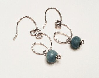 925 sterling large freeform swirly earrings with high grade aquamarine rondelle beads, textured