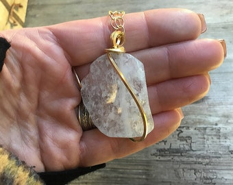 Large quartz pendant necklace wrapped in 14k gold fill square wire on 10k gold oval link chain