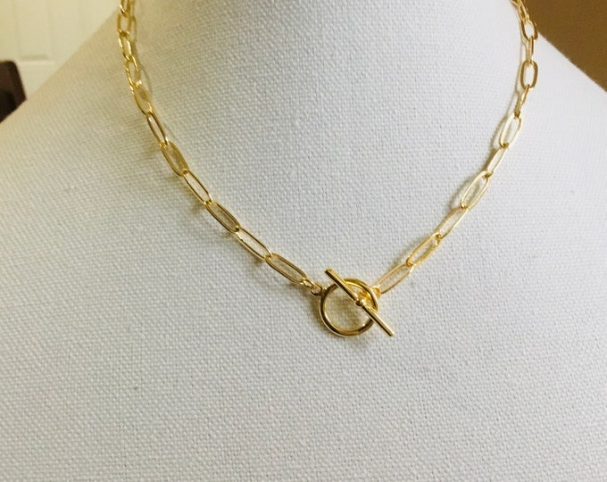 14k gold fill paperclip chain necklace, toggle clasp, layering, 11.8 x 4.7mm, chunky, elongated