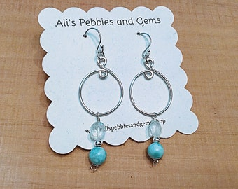 Natural larimar and Rainbow moonstone pebble beads on sterling oval swirly earrings