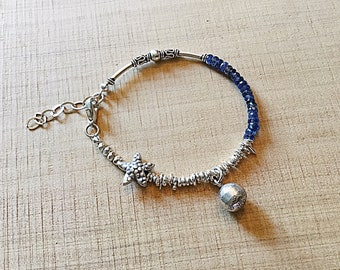 Karen Hill tribe silver mix bracelet with kyanite rondelles, starfish bead, ball charm, sterling
