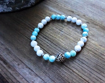 Genuine 6mm larimar beaded bracelet, Karen Hill Tribe silver imprint seed beads, howlite beads