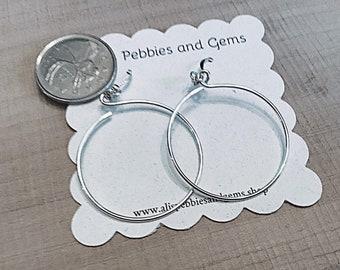 Sterling hoop earrings, minimalistic, open circle