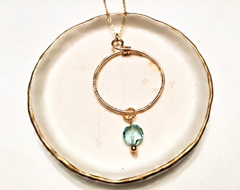 14k gold fill circle pendant necklace with green amethyst quartz coin charm, hammered, textured