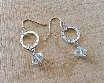 Herkimer diamond and sterling circle earrings, textured,hammered, april birthstone, minimalist