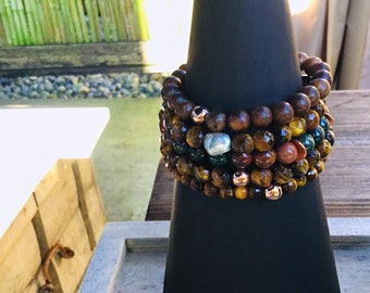 Tigers eye faceted men's beaded bracelet, rose gold feature bead