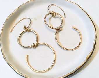 Figure eight 14k gold fill textured earrings, hammered, thin
