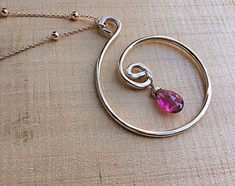 Pink tourmaline briolette on 14k gold fill swirly spiral pendant necklace, textured on 14k gold fill satellite chain, circle