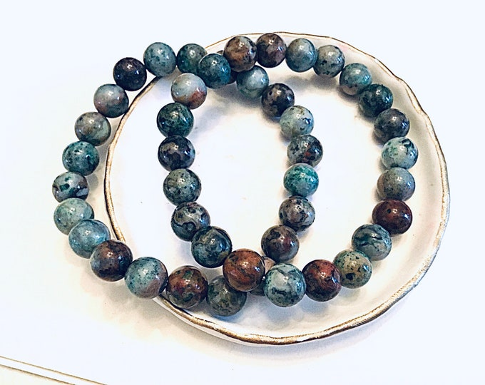 Aqua green crazy lace agate 8mm beaded bracelet, stacking, smooth