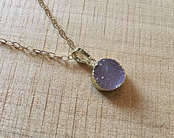 Champagne druzy agate round charm on 10k gold plated chain, minimalist