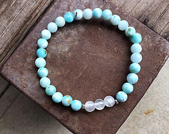Blue hemimorphite 6mm beaded bracelet with 3 calcite beads and 2 Karen Hill Tribe silver imprint seed beads