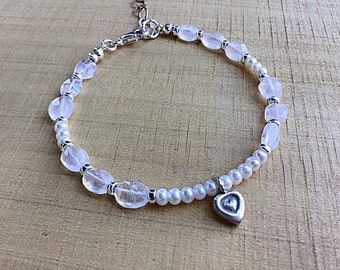 Rainbow moonstone pebbles with tiny freshwater pearls and sterling rondelle spacer beaded bracelet, Karen Hill silver heart charm