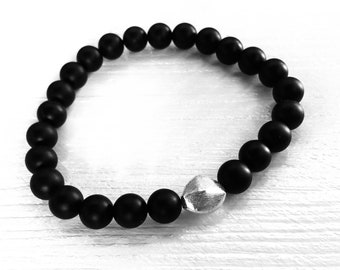 Matte black onyx men's beaded bracelet, 925 sterling brushed nugget accent bead