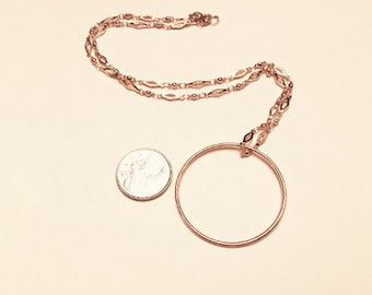Rose gold plated minimalist large circle pendant necklace on rose gold bar chain