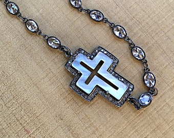 Pave diamond mother of pearl cross pendant necklace in oxidized sterling setting on gunmetal rhinestone chain