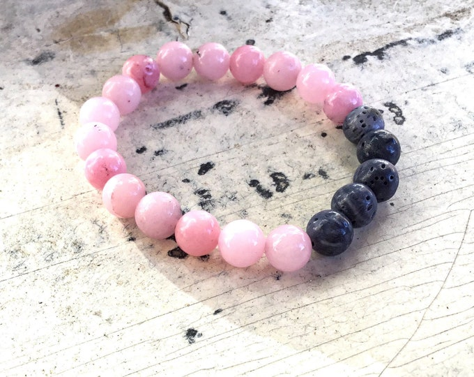 Pink cherry blossom jasper and blue sponge coral beaded bracelet, smooth, stacking