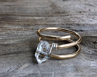 Herkimer diamond solitaire stone ring on 14k gold fill wire, swirling, double band, thick,textured,sterling, solitaire, april birthstone