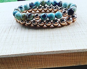 Double stack, aqua terra agate with rose gold accent beads, rose gold hematite 8mm beaded bracelet