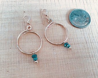 14k gold fill hoop earrings with green fire opal rondelles
