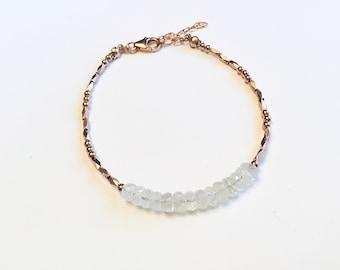 14k Rose gold vermeil over 925 sterling , rainbow moonstone rondelle disc beads, faceted tiny beaded bracelet, Karen Hill Tribe