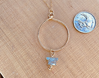 14k  gold fill hammered circle pendant necklace, aquamarine stack charm, on 16 inch 14k gold fill chain