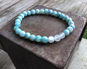 Genuine 6mm ocean blue larimar beaded bracelet with selenite beads
